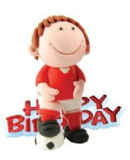 Red Footballer Resin Topper with Happy Birthday Motto